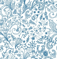 Doodle floral seamless card vector image vector image