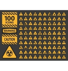 icn set triangle yellow warning caution vector image