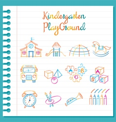 Kindergarten Line Drawing Toys and Playground Set vector image vector image