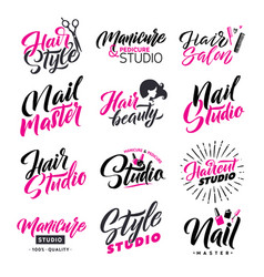 logo beauty salon lettering set hair studio and vector image vector image