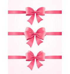 silk pink ribbon and bow set vector image vector image