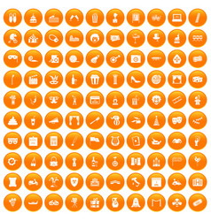 100 mask icons set orange vector