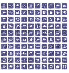 100 umbrella icons set grunge sapphire vector