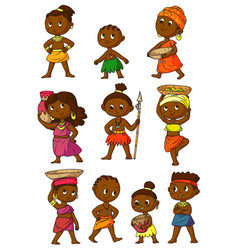 African people set isolated on white background vector