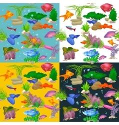 Aquarium fish seaweed underwater pattern vector