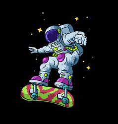Astronaut play skateboard vector