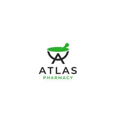 atlas pharmacy logo design template vector image