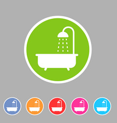 Bath shower icon flat web sign symbol logo label vector