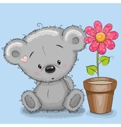 Bear with flower vector