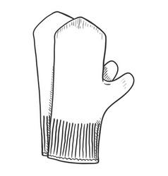 black sketch - classic woolen mittens vector image