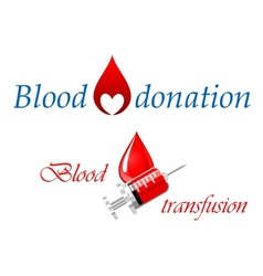 Blood donation and blood transfusion symbols vector image