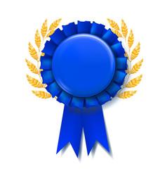 blue award ribbon reward rosette abstract vector image