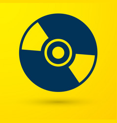 Blue cd or dvd disk icon isolated on yellow vector