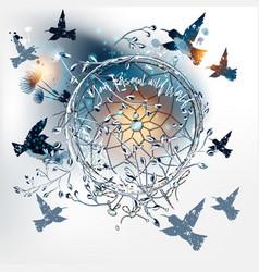 boho dreamcatcher with hummingbirds and dandelions vector image