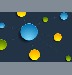 bright circles with connect lines background vector image