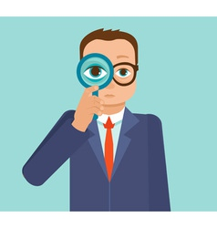 businessman looking for future trends through magn vector image