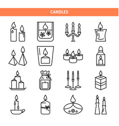 candle icons set in thin line style vector image