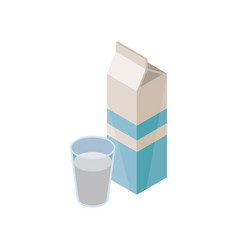 cardboard package and glass of natural milk for vector image