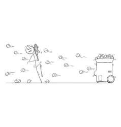 cartoon man playing against tennis ball vector image