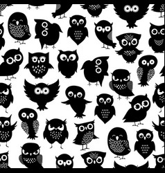 Cartoon owl seamless pattern black cute night vector