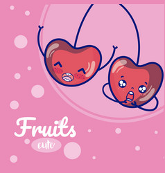 cherries cute fruits cartoons vector image