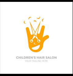 Children s hair salon logo funny logo smiling vector