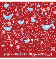 Christmas card with birds vector