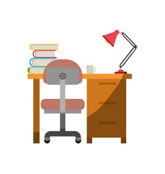 Colorful graphic of desk home with chair and books vector