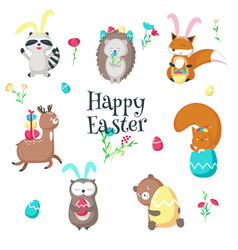 Cute funny easter animals isolated vector