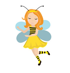 cute little girl bee icon in flat cartoon style vector image