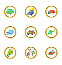 different vehicle icons set cartoon style vector image