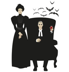 Disturbing couple dressed in the vector