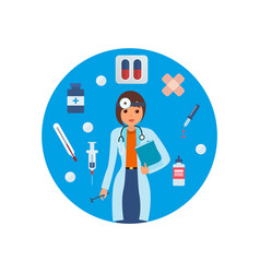 Doctor in medical gown with tool research results vector