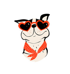 Dog puppy with sunglasses icon smiling cartoon vector