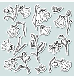Doodle floral stickers set vector