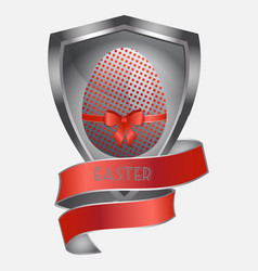 Easter metallic egg on metal shield and banner vector