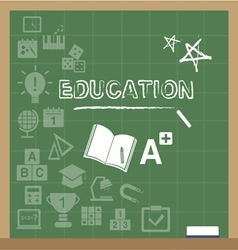 Education icons on the blackboard vector