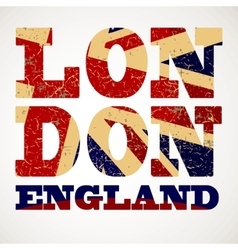 Flag of Great Britain London city typography vector