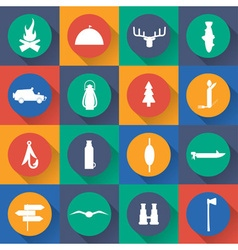 Flat design icons of fishing and hunting theme vector