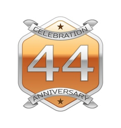 Forty four years anniversary celebration silver vector