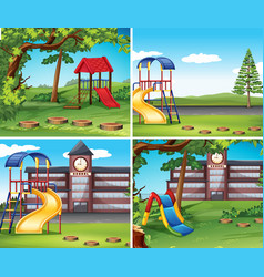 four scenes with playground vector image