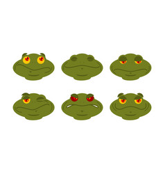 Frog emoji set toad avatar good and evil vector