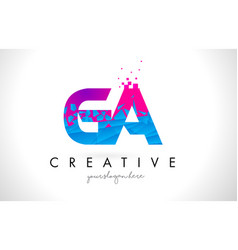 Ga g a letter logo with shattered broken blue vector