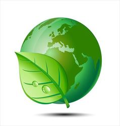 Green earth and leaf vector image