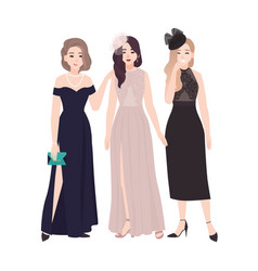 Group of young women in elegant evening dresses vector