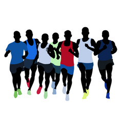 Group runners athletes vector