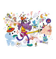guitarist cartoon vector image