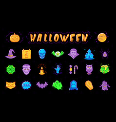 halloween icon set isolated colorful vector image