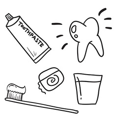 Hand drawn dental care toothpaste teeth symbol vector image vector image