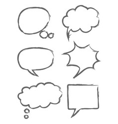 Hand drawn sketch speech bubbles vector